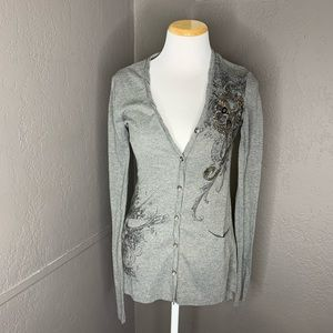 Miss me gray button front cardigan sweater small